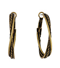BCBGeneration™ Goldtone Twisted Double Hoop Earrings