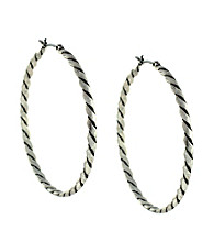 BCBGeneration™ Silvertone Twisted Hoop Earrings