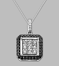 .20 ct. t.w. Black and White Diamond Pendant in Sterling Silver