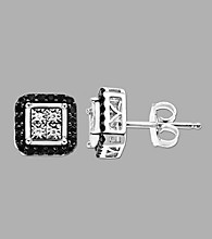 .22 ct. t.w. Black and White Diamond Earrings in Sterling Silver