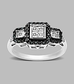 .22 ct. t.w. Black and White Diamond Ring in Sterling Silver