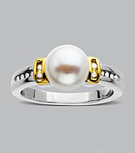 .06 ct. t.w. Diamond and Freshwater Pearl Ring in Sterling Silver