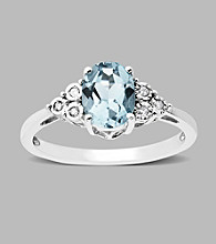 Sterling Silver Aqua and .03 ct. t.w. Diamond Ring