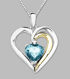 .008 ct. t.w. Aqua Heart-Shape Pendant in 14K Yellow Gold and Sterling Silver