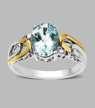 .02 ct. t.w. Diamond and Aqua Ring in Sterling Silver