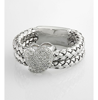 Effy® .26 ct. t.w. Diamond Heart and Braided Sterling Silver Ring