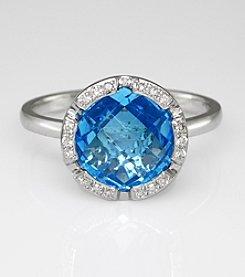 Effy® .08 ct. t.w. Diamond and Blue Topaz 14K White Gold Ring