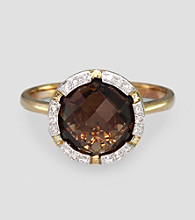 Effy® .08 ct. t.w. Diamond and Smoky Quartz 14K Yellow Gold Ring