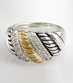 Effy® .21 ct. t.w. Diamond Sterling Silver and 18K Gold Twist Ring