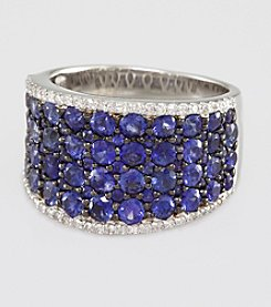Effy® .26 ct. t.w. Diamond and Sapphire Sterling Silver Ring