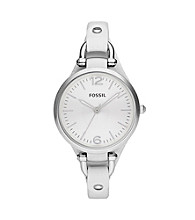 Fossil® Women's Georgia White Leather Watch