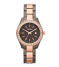 Fossil® Women's Stella Mini Stainless Steel Two-Tone Watch - Brown and Rose