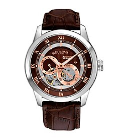 Bulova® Men's Brown Leather Self-Winding Mechanical Watch