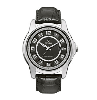 Bulova® Men's Black Leather Precisionist Watch