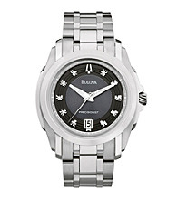 Bulova® Men's Stainless Steel and Diamond Watch