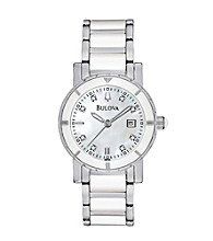 Bulova® Women's Stainless Steel and White Ceramic Diamond Watch