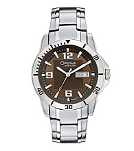 Caravelle® by Bulova Men's Stainless Steel Watch with Embossed Brushed Dial