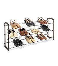 LivingQuarters Faux Leather/Chrome Expandable 3-Tier Shoe Rack