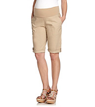 Three Seasons Maternity™ Stretched Poplin Cuffed Bermuda Shorts