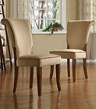 Home Interior Refined Set of 2 Chocolate Velvet Side Chairs