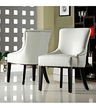 Home Interior Elegant Set of 2 White Vinyl Chairs