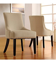 Home Interior Elegant Set of 2 Beige Vinyl Chairs