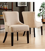 Home Interior Elegant Set of 2 Beige Fabric Chairs