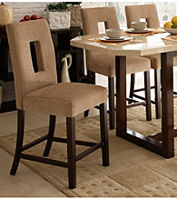 Home Interior Set of 2 Beige Fabric Counter Height Chairs