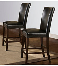 Home Interior Set of 2 Dark Brown Counter Height Chairs