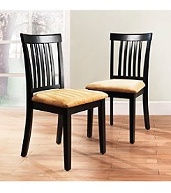 Home Interior Set of 2 Black Classic Mission Back Chairs