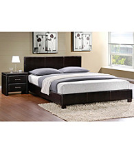 Home Interior Dark Brown Bi-Cast Vinyl Bedroom Set