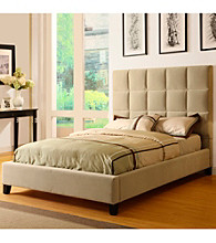Home Interior Taupe Velvet Platform Bed