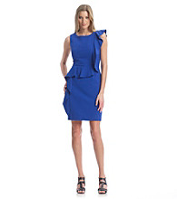 Calvin Klein Shoulder to Hem Cascading Ruffle Sheath