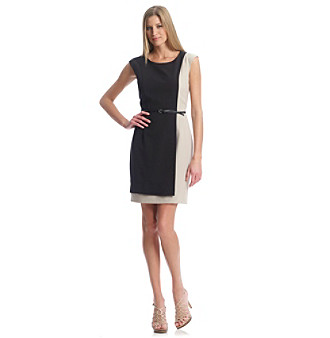 Calvin Klein Black and Khaki Two-Tone Structured Sheath Belted Work Dress