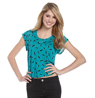 Belle du Jour Juniors' Turquoise Hi-Low Boxy Feather Printed Tee