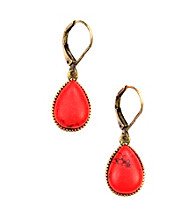 Nine West Vintage America Collection® Burnished Goldtone Coral Teardrop Earrings