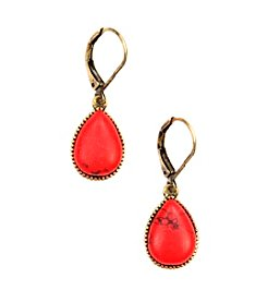 Nine West Vintage America Collection® Burnished Goldtone/Coral Teardrop Earrings