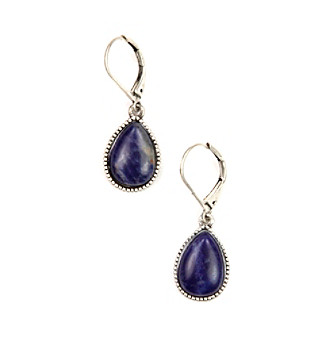 Nine West Vintage America Collection® Oxidized Silvertone Navy Teardrop Earrings plus size,  plus size fashion plus size appare