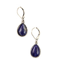 Nine West Vintage America Collection® Oxidized Silvertone Navy Teardrop Earrings
