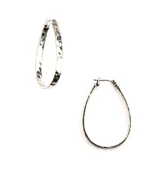 Nine West Vintage America Collection® Large Oxidized Silvertone Oval Hoop Earrings