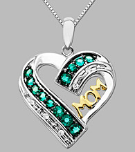 .04 ct. t.w. Diamond Accents and Created Emeralds Heart Pendant