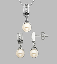 .06 ct. t.w. Diamond Accents and Freshwater Pearl Pendant and Earring Box Set
