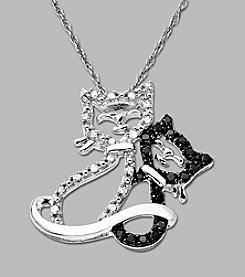 .14 ct. t.w. Black and White Diamond Accent 10K White Gold Cat Pendant