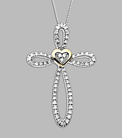 .25 ct. t.w. Diamond Accent and Sterling Silver Cross Pendant with 14K Yellow Gold Heart
