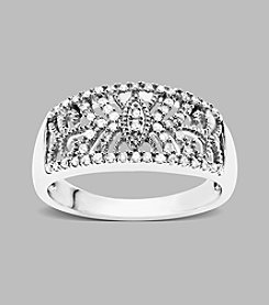.20 ct. t.w. Diamond Accent and Sterling Silver Filigree Ring