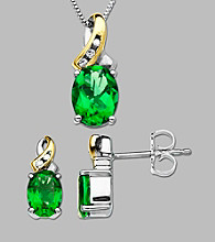 .04 ct. t.w. Diamond Accent and Created Emerald Necklace and Earring Box Set