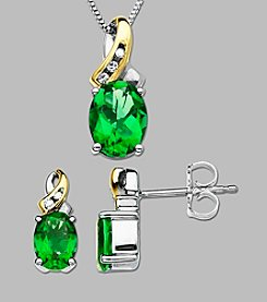 .04 ct. t.w. Diamond Accent and Created Emerald Necklace and Earrings Box Set