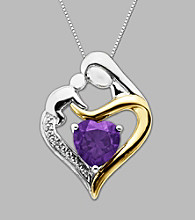 .003 ct. t.w. Diamond Accent and Amethyst Mother and Child Heart-Shaped Pendant