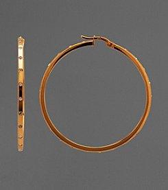 14K Gold and Sterling Silver Crystal Hoop Earrings