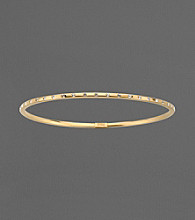 14K Gold and Sterling Silver Crystal Bangle Bracelet